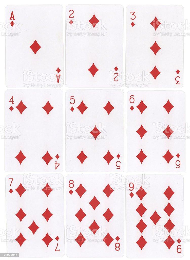 Diamonds Number Cards stock photo