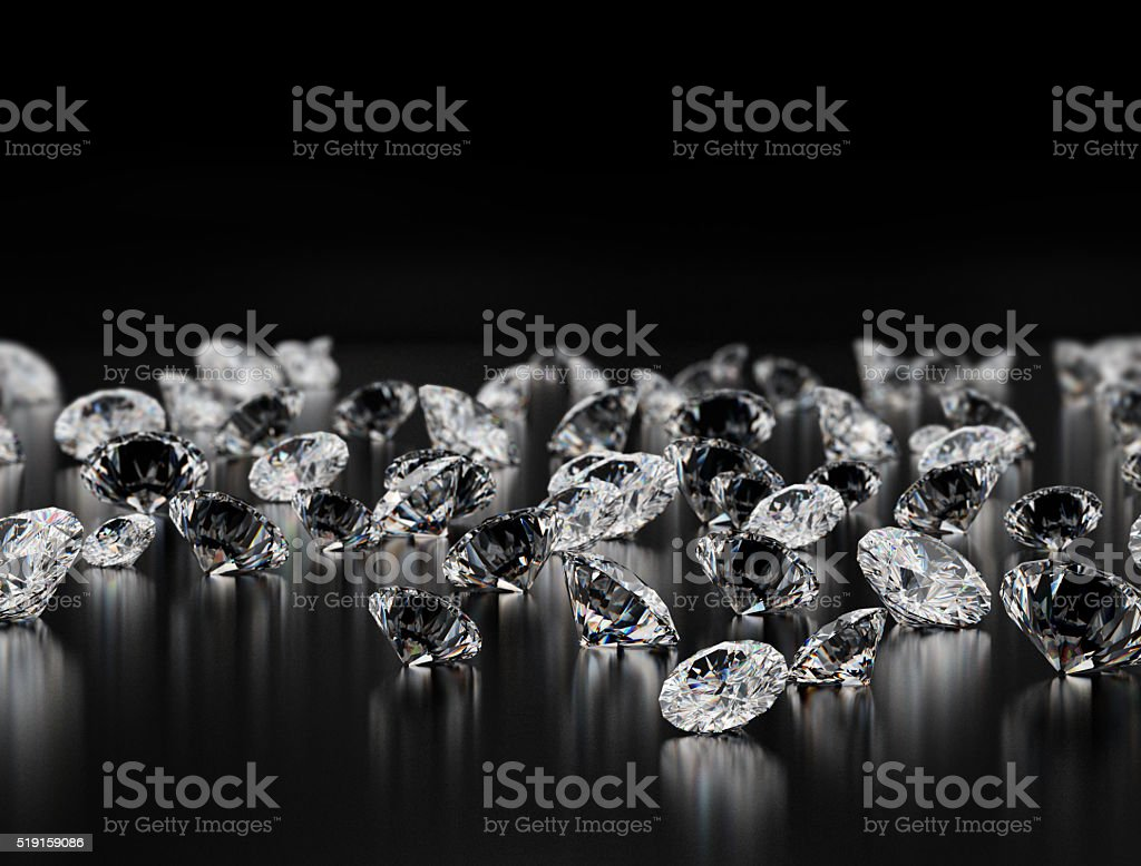 Diamonds on black background stock photo