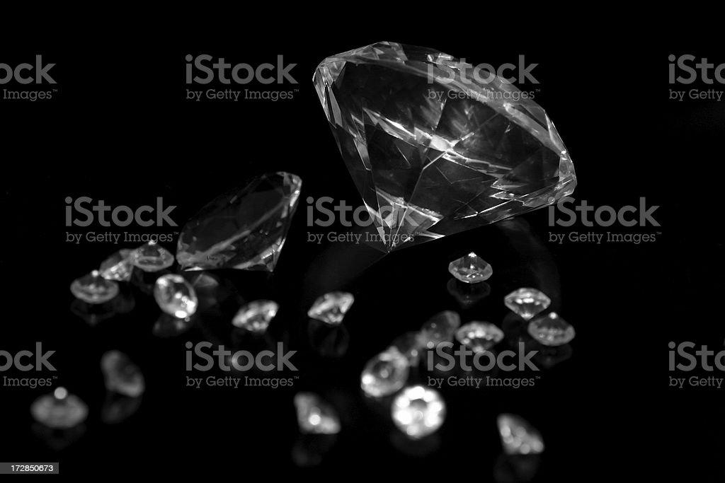 Diamonds on black stock photo