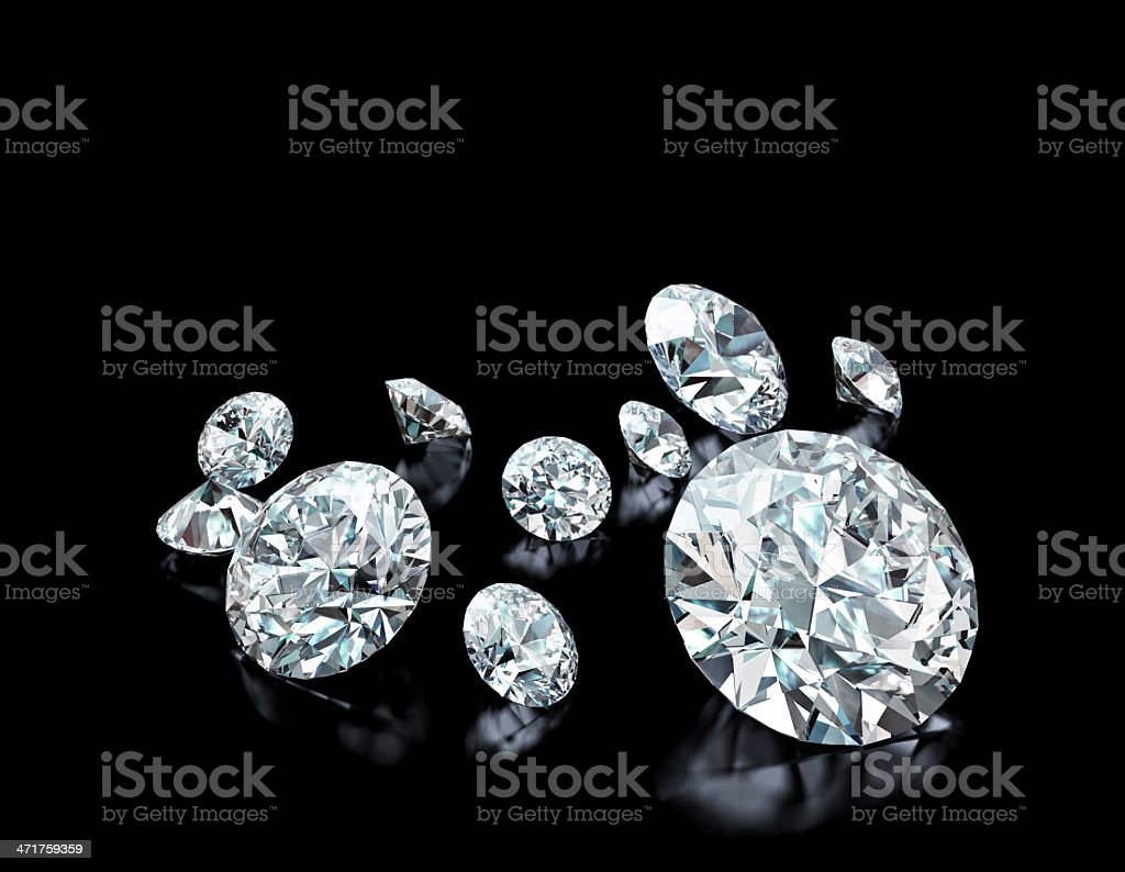 Diamonds on black stock photo