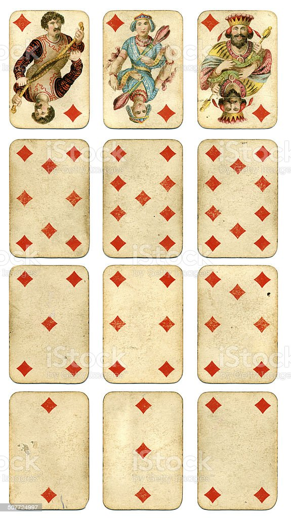 Diamonds suit Four Continents playing cards by Dondorf 1900 stock photo