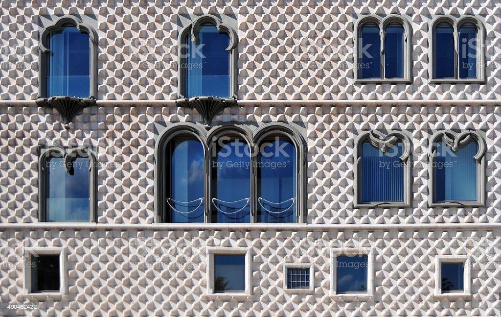Diamond-shaped bossage, Casa dos Bicos, Lisbon, Portugal stock photo