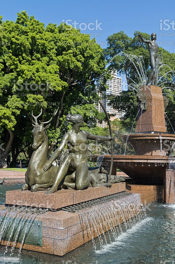 Diana, Artemis Goddess of hunting at Archibald Fountain, Sydney stock photo