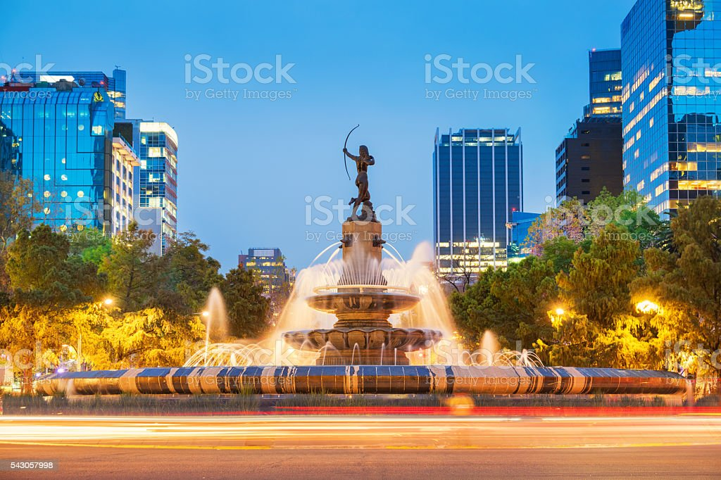 Diana the Huntress Fountain in Downtown Mexico City stock photo
