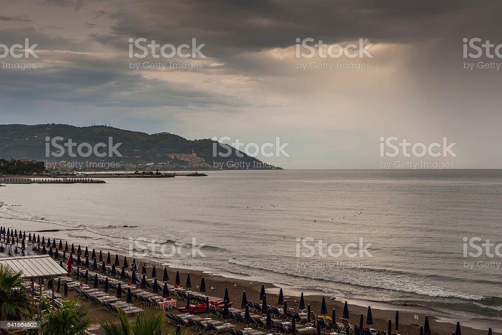 Diano Marina (Italy). Storm on the sea and beach stock photo