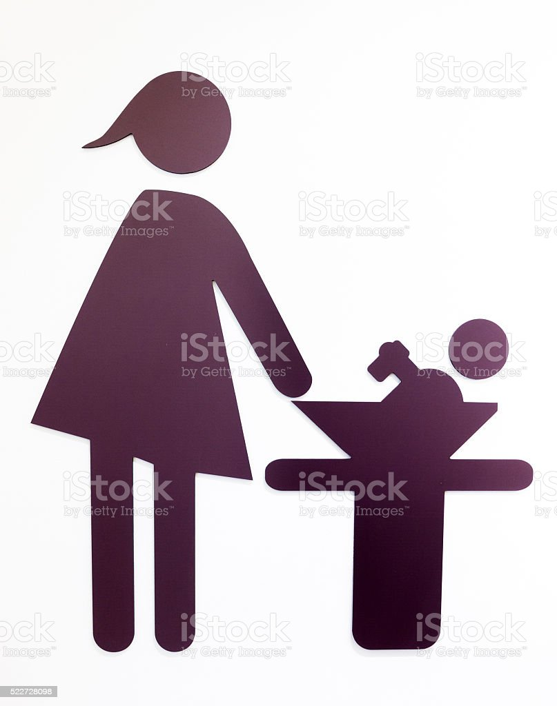 diaper changing table sign stock photo