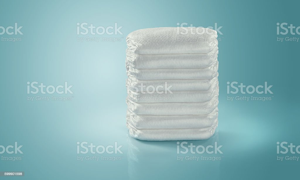 Diapers. Isolated stack. stock photo