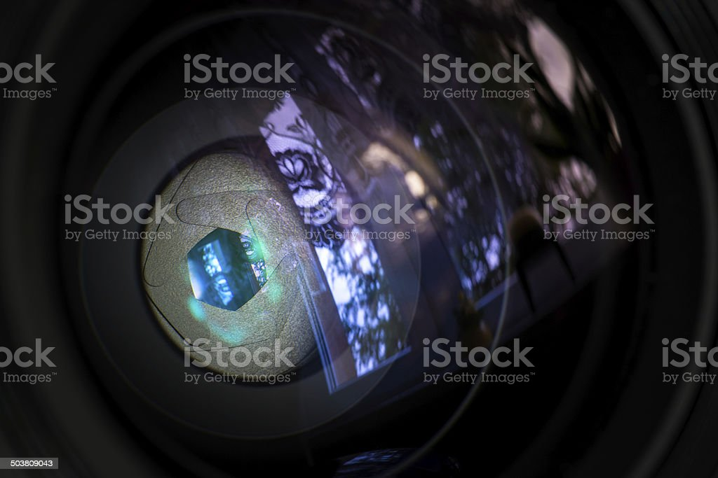 Diaphragm of a camera lens aperture. royalty-free stock photo