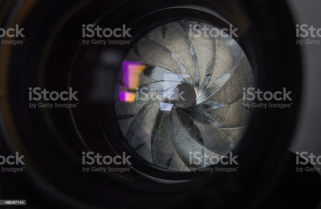 diaphragm old lens stock photo