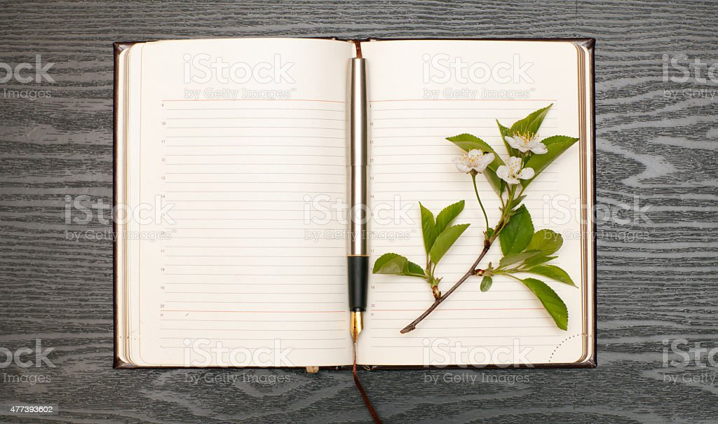 Diary and cherry blossoms stock photo