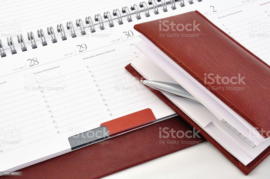 Diary and pen in notebook royalty-free stock photo