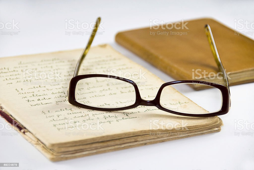 Diary, glasses and address book royalty-free stock photo