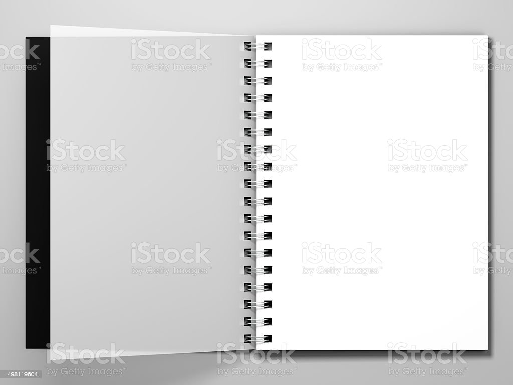Diary on white background. 3d rendering stock photo