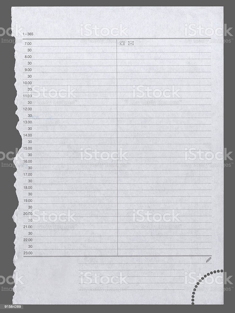 Diary page isolated XXL royalty-free stock photo