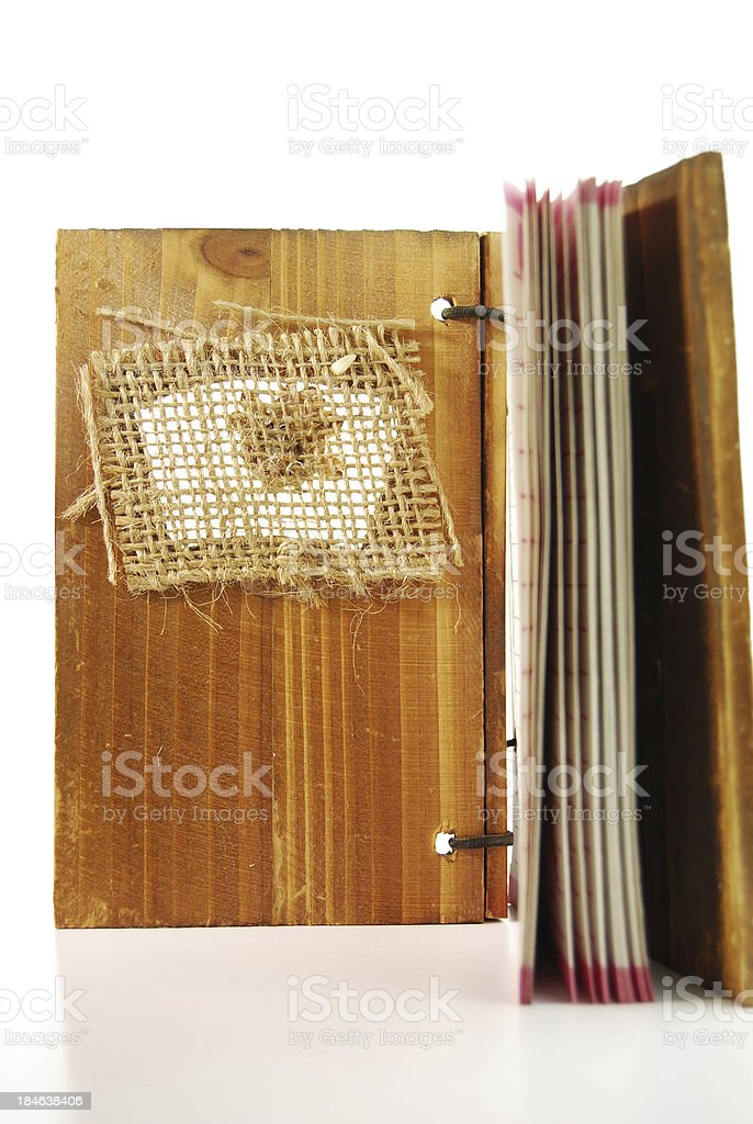 Diary with wooden cover stock photo