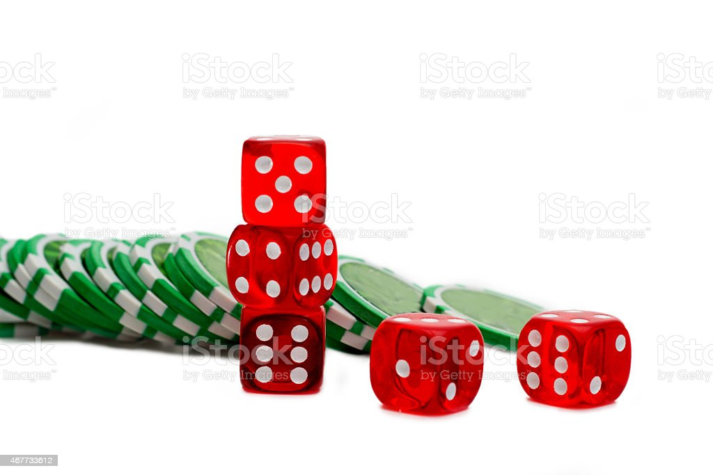 Dice and Chips isolated on white stock photo