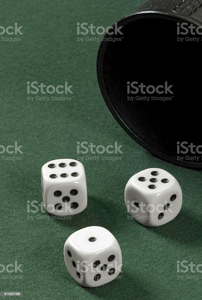 dice and cup stock photo