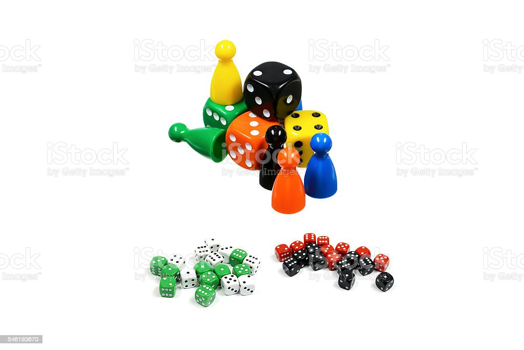 Dice and gambling chips set stock photo