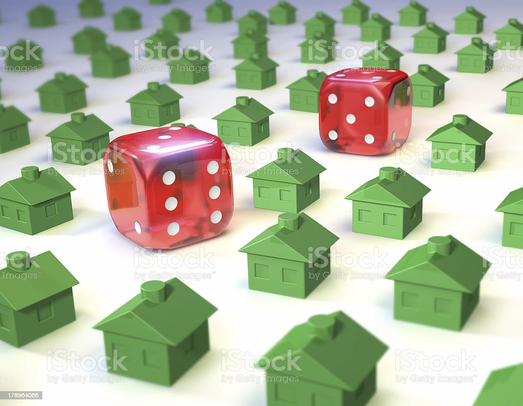 dice and houses royalty-free stock photo