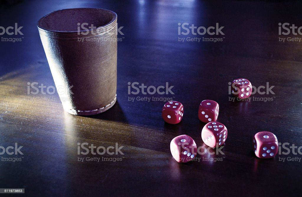 Dice cup and dices stock photo