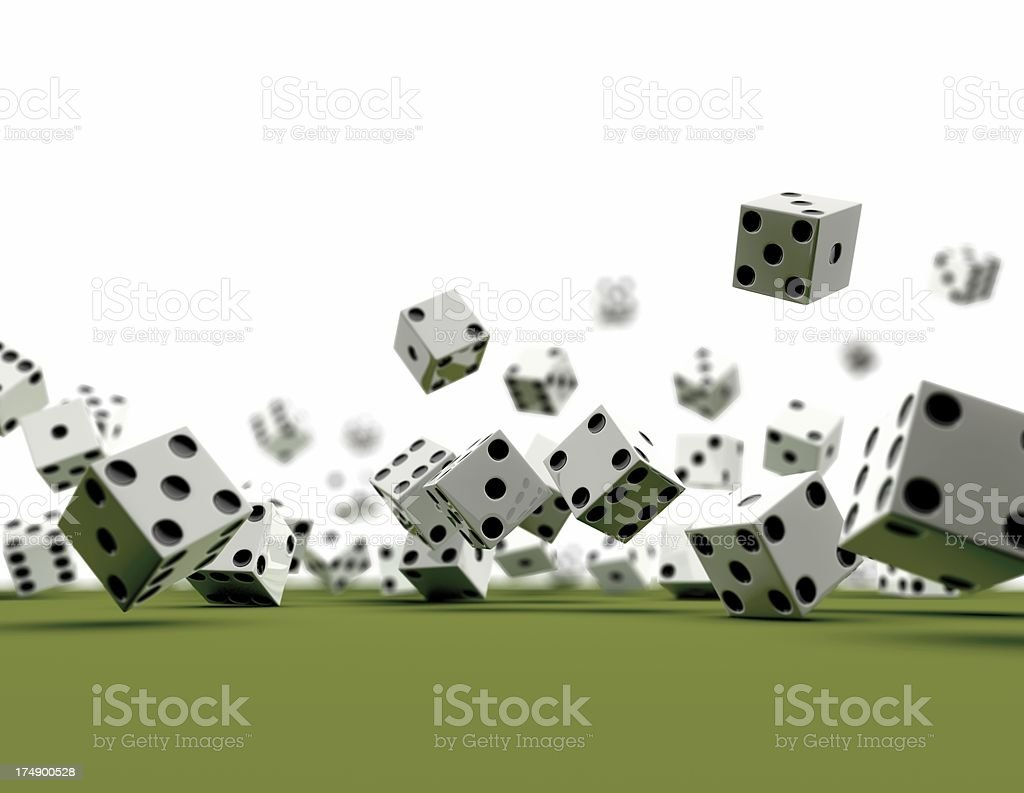 Dice falling (white Background) royalty-free stock photo