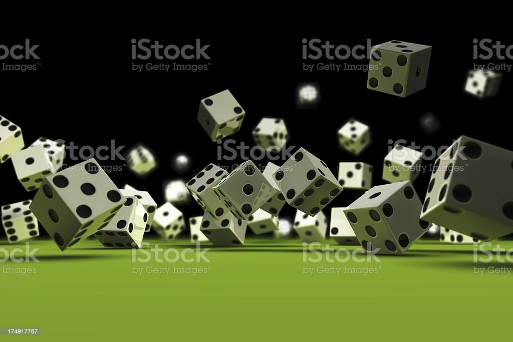 Dice falling (black Background) royalty-free stock photo