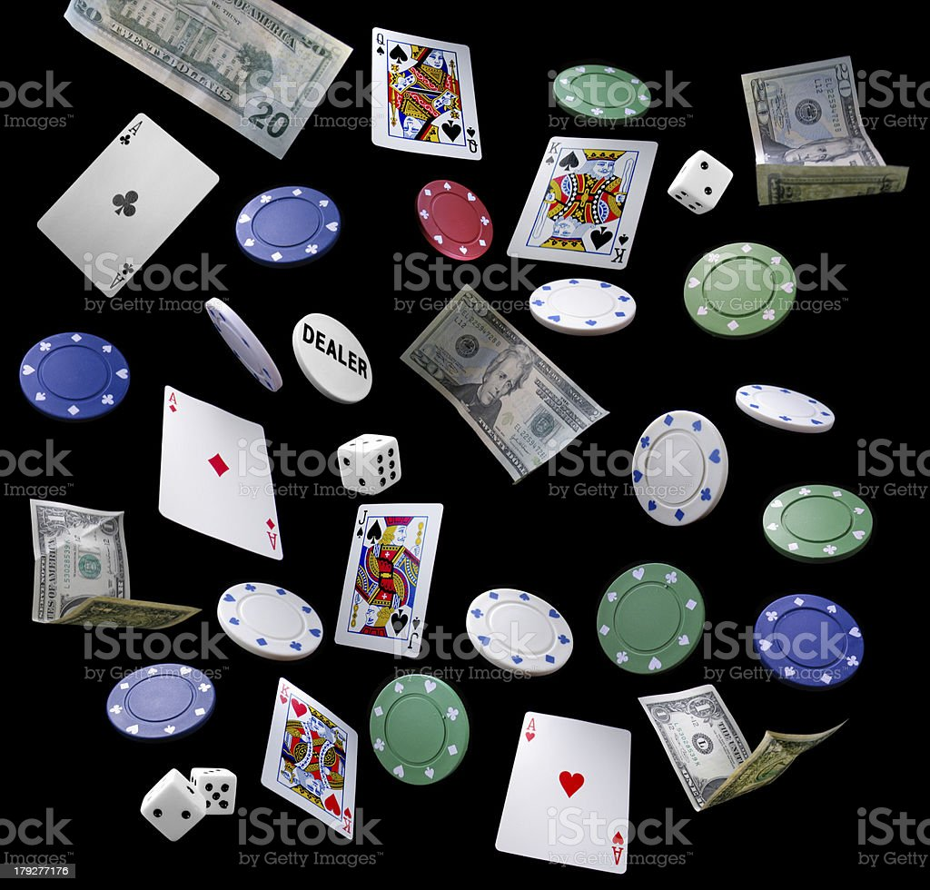 Dice Money Poker Chips and Cards for Gambling royalty-free stock photo