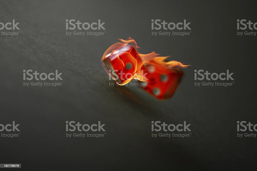 dice on fire royalty-free stock photo