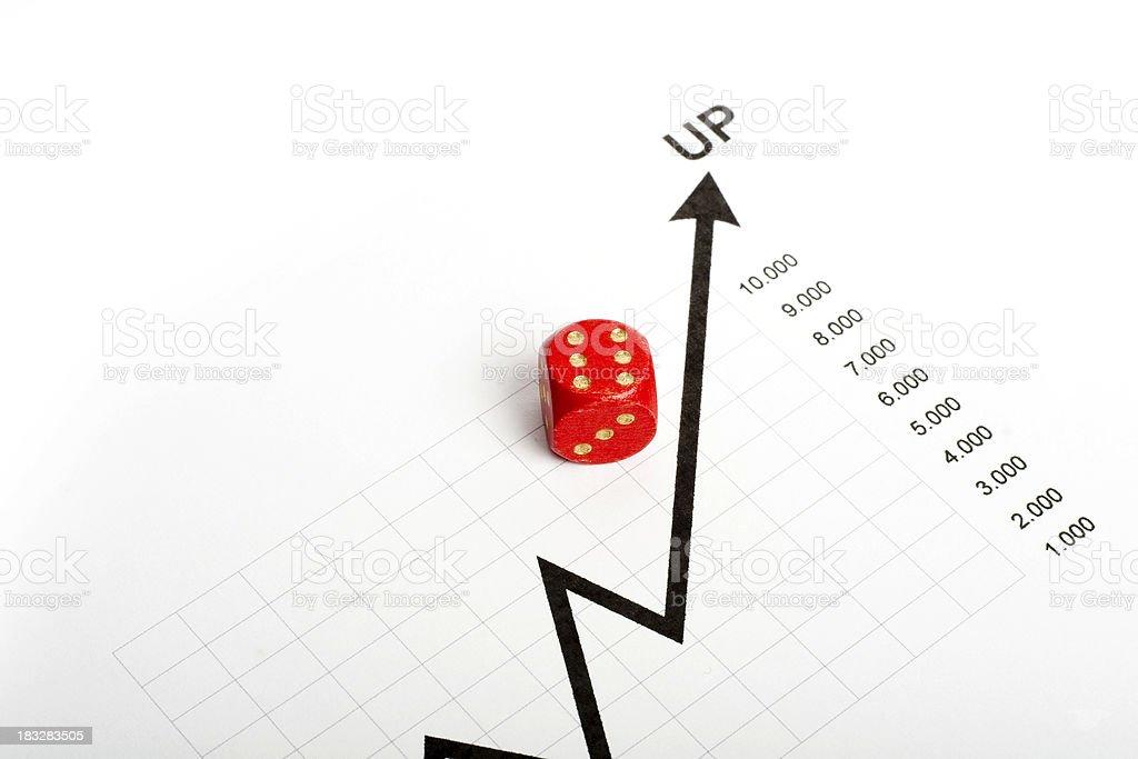 Dice on graph stock photo