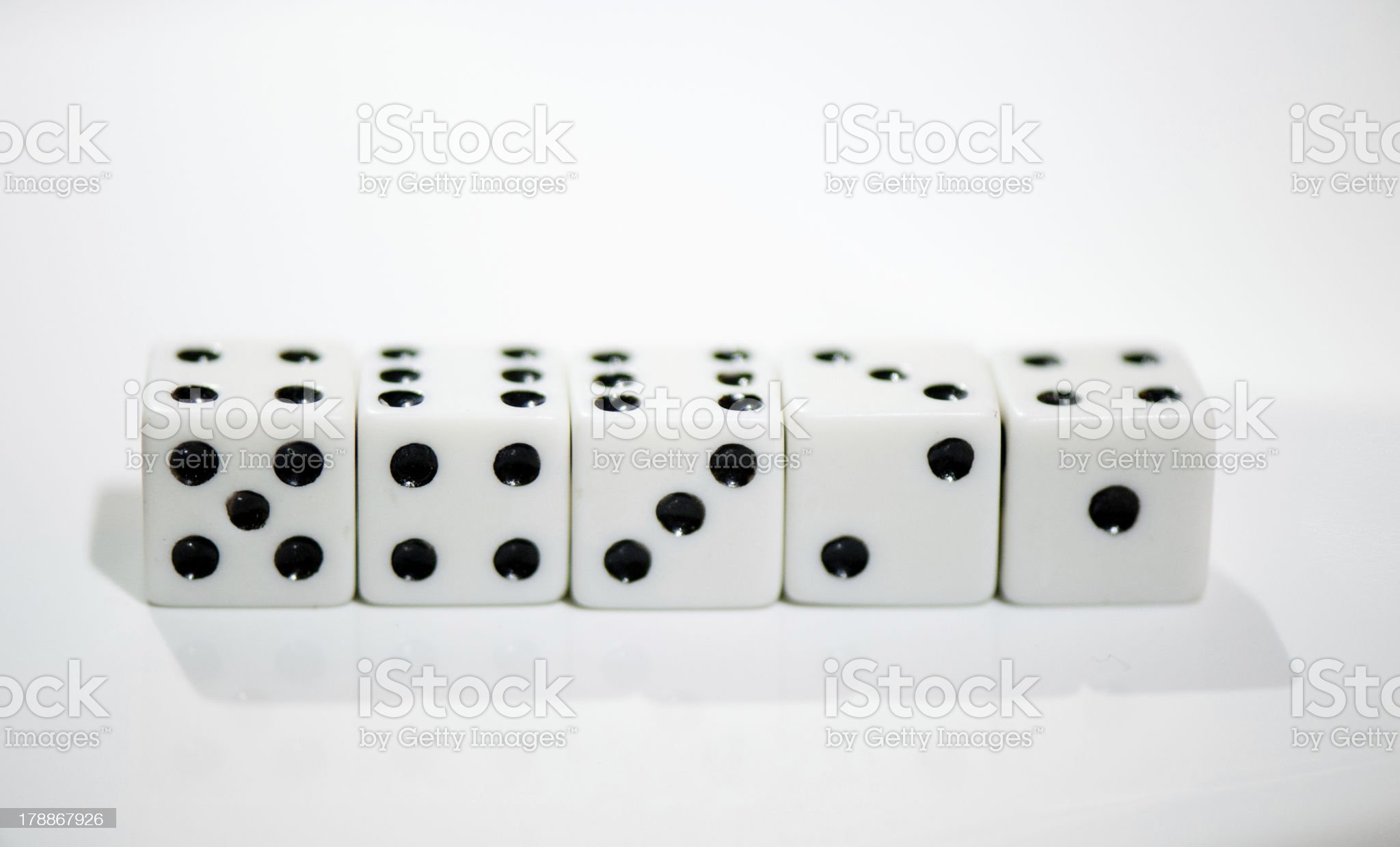 Dice one to five royalty-free stock photo