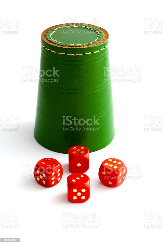 Dice Shaker and Dice stock photo