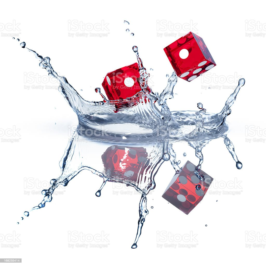 Dice water action on white VIII royalty-free stock photo