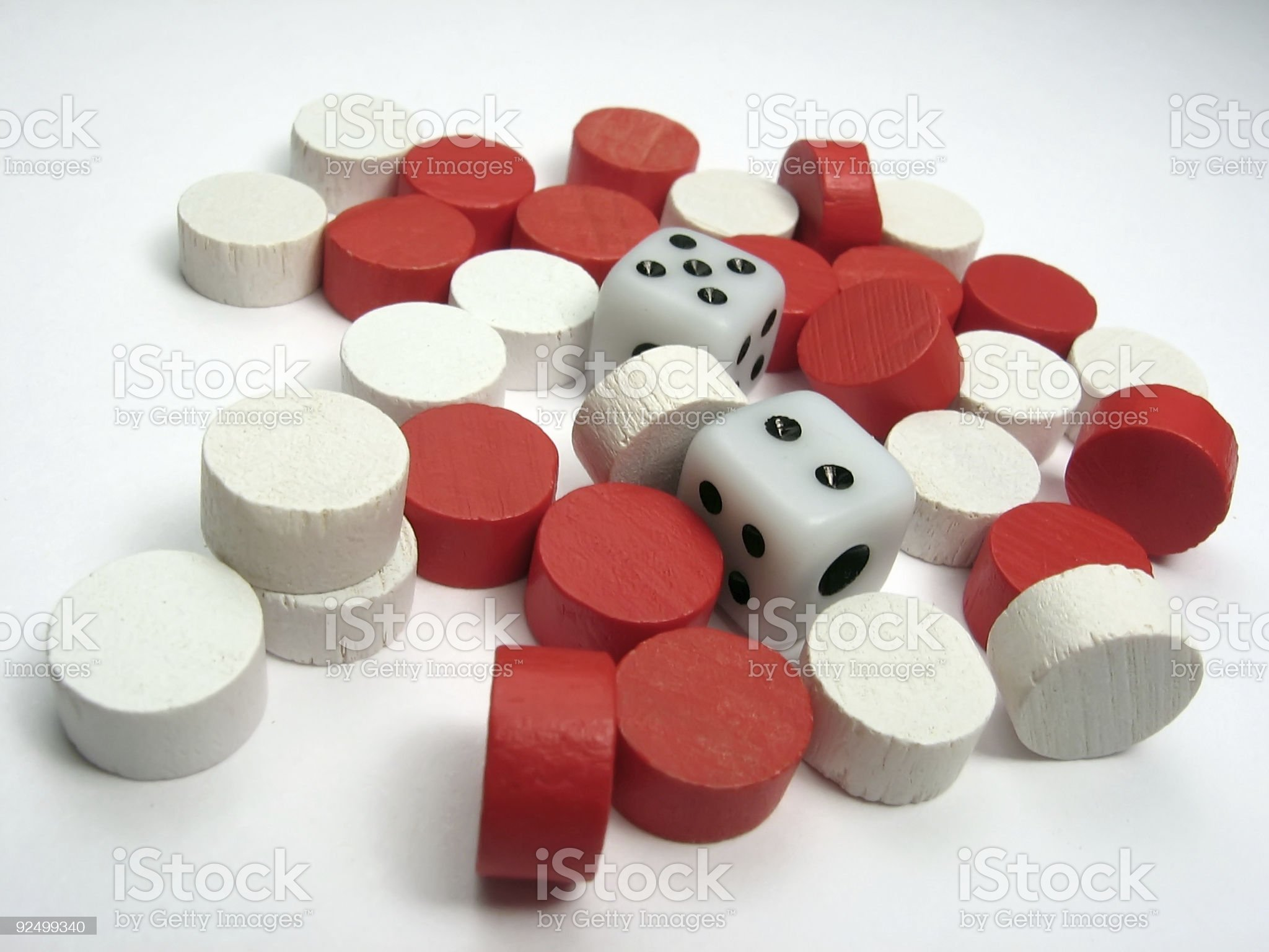 Dice with reds and whites royalty-free stock photo