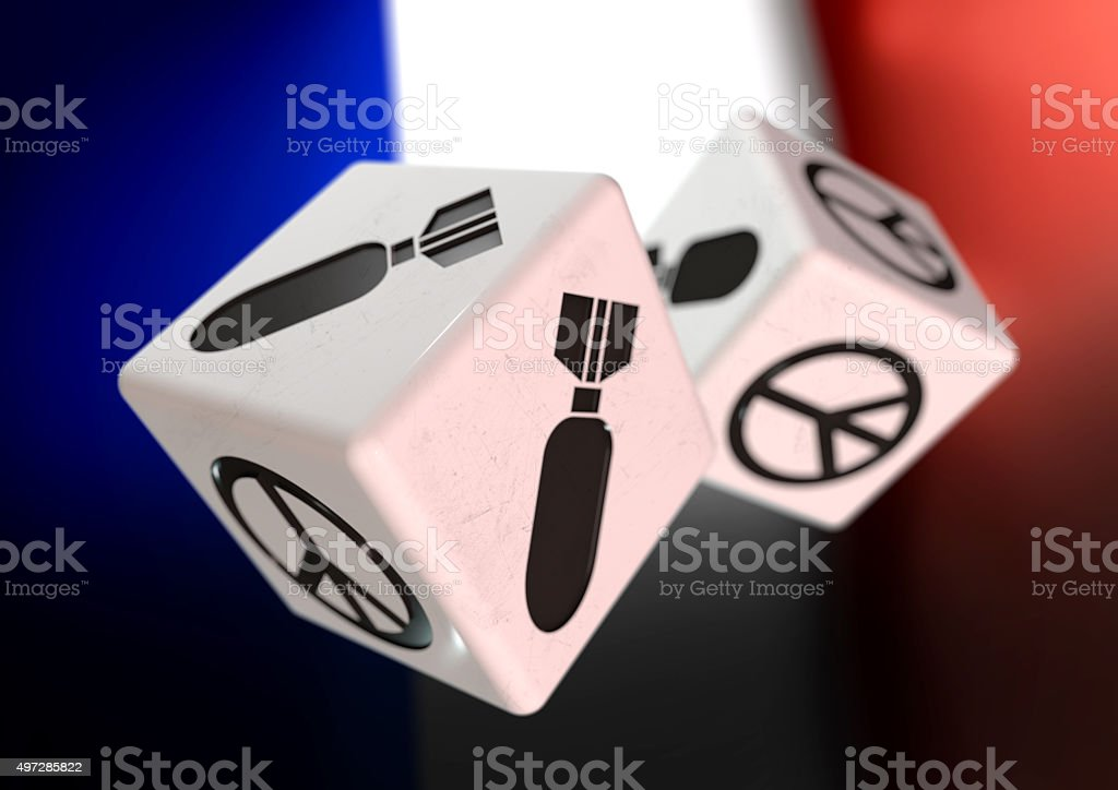 Dice with war and peace symbols on side. French flag. stock photo