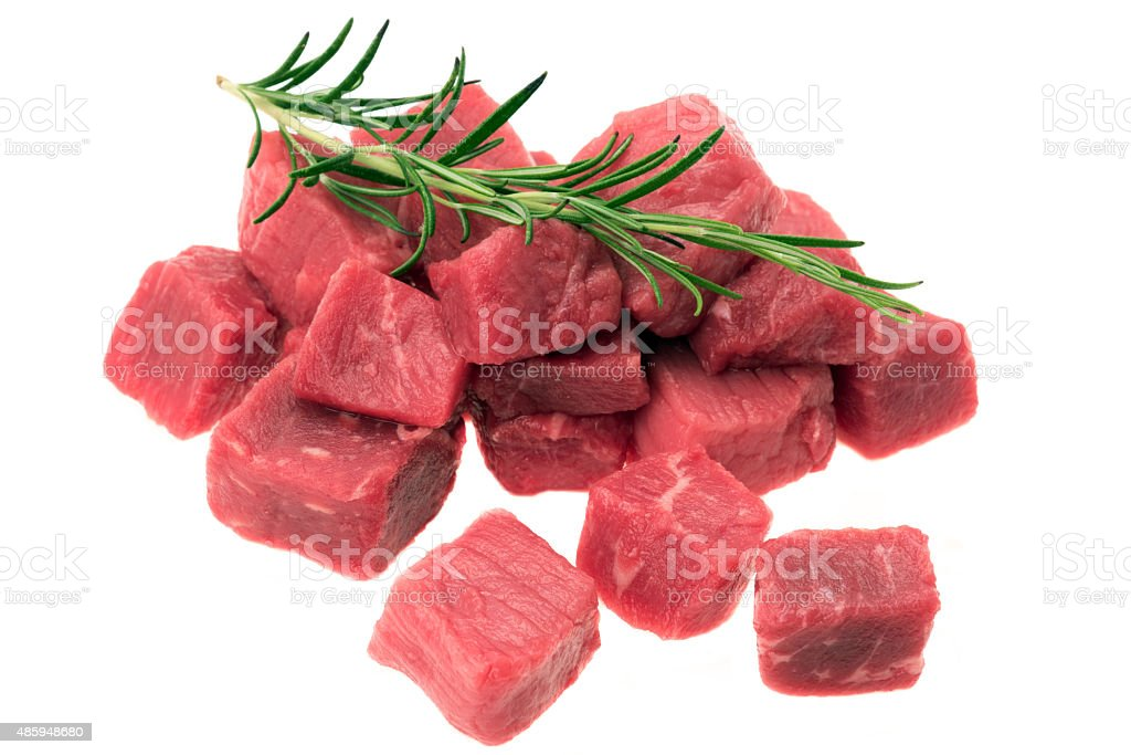 Diced beef stock photo
