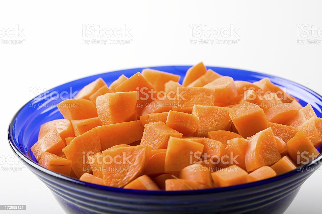 diced carrots in bowl royalty-free stock photo