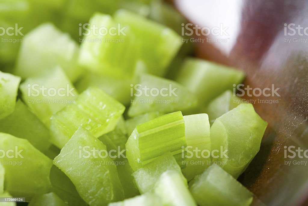 diced celery in bowl royalty-free stock photo