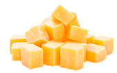 Diced Cheddar isolated on white