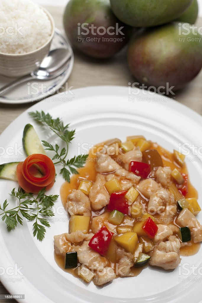 diced chicken with mango stock photo
