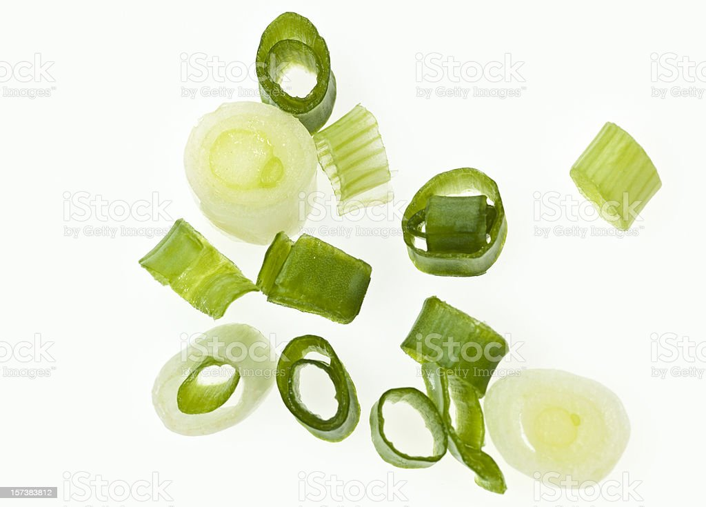 diced green onions stock photo