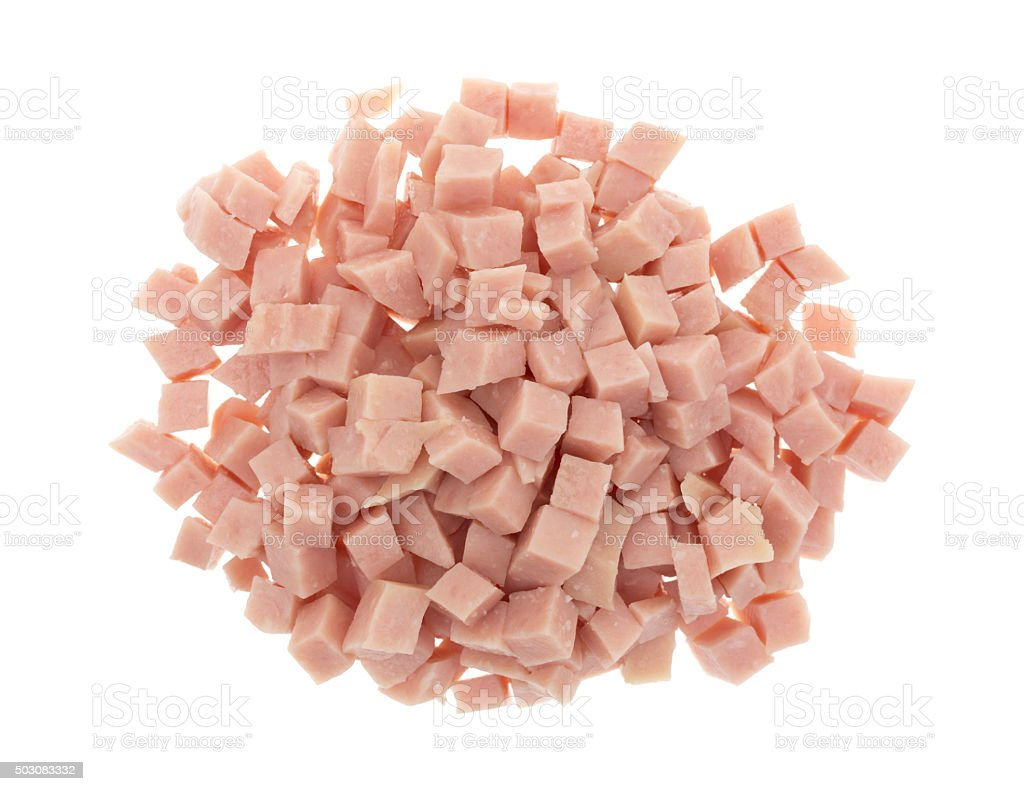 Diced ham on a white background stock photo