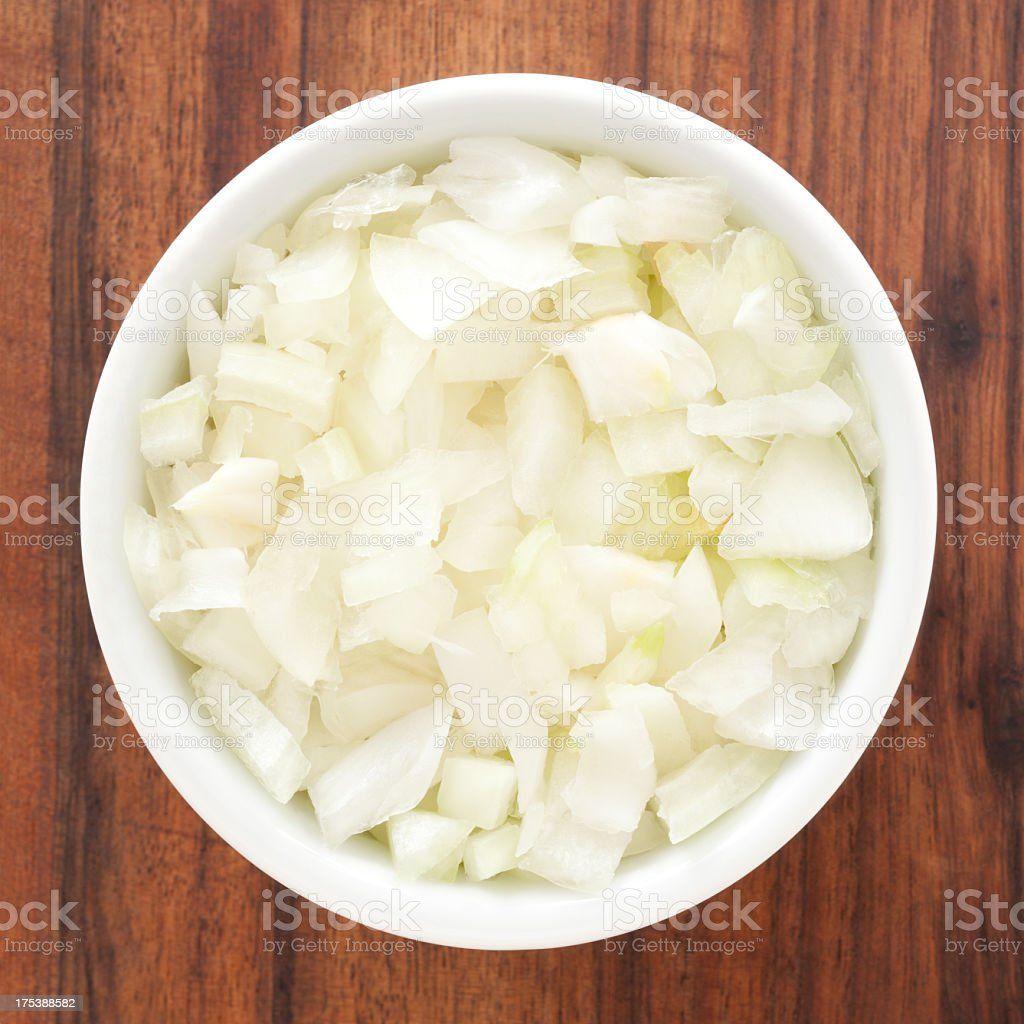 Diced onion stock photo