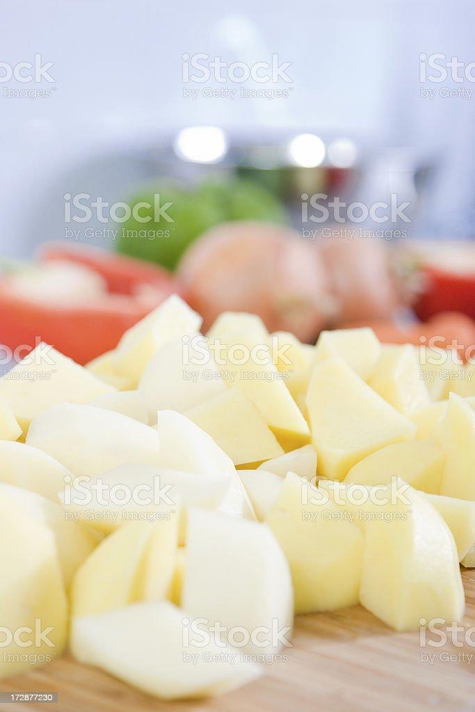 Diced potatoes royalty-free stock photo