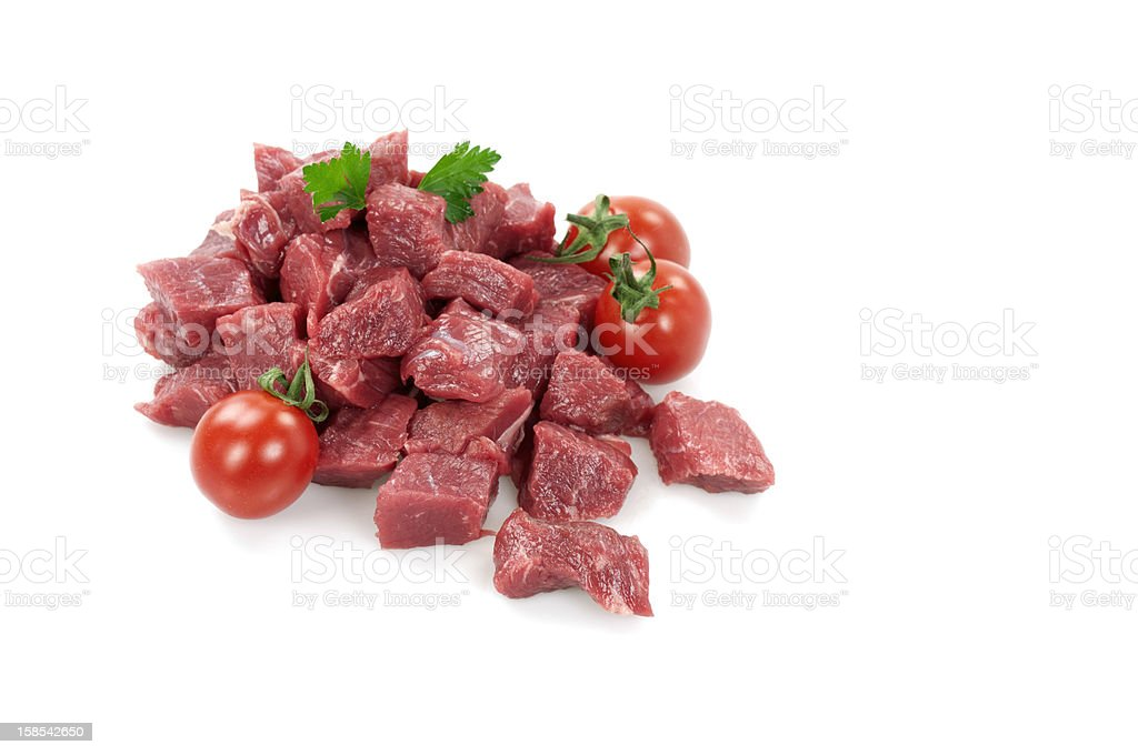 Diced Raw Meat With Plum Tomatoes stock photo