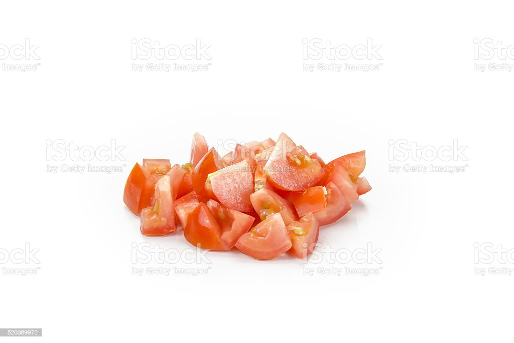 diced tomato isolated on white background stock photo