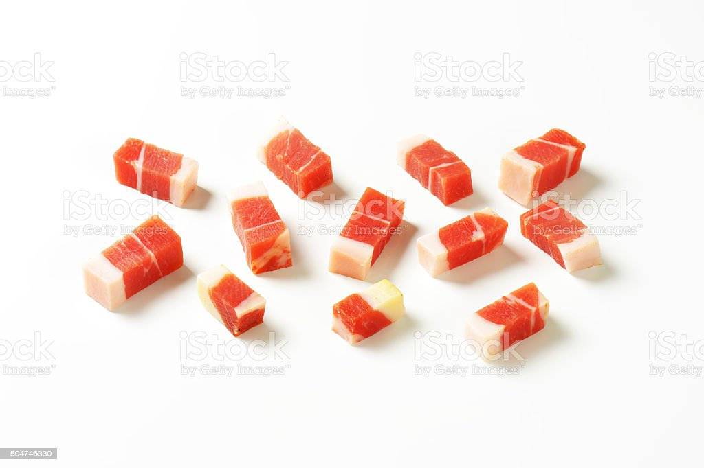 Diced Tyrolean speck stock photo