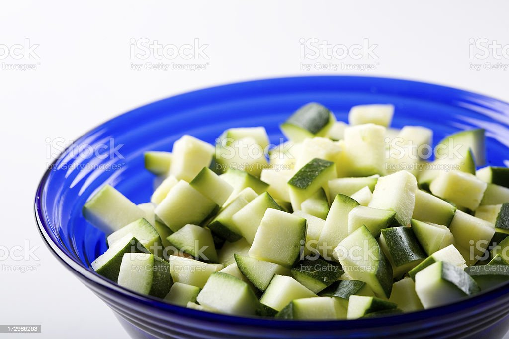 diced zucchini in bowl royalty-free stock photo