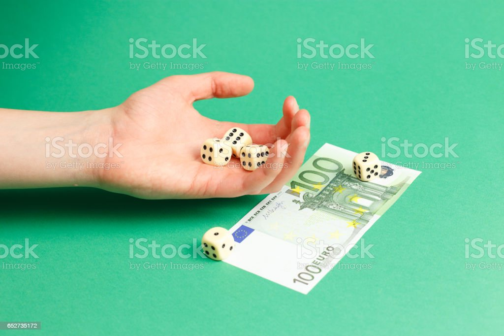 Dices and European currency stock photo