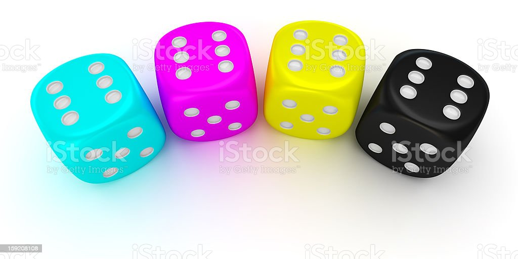 Dices of cmyk colors royalty-free stock photo
