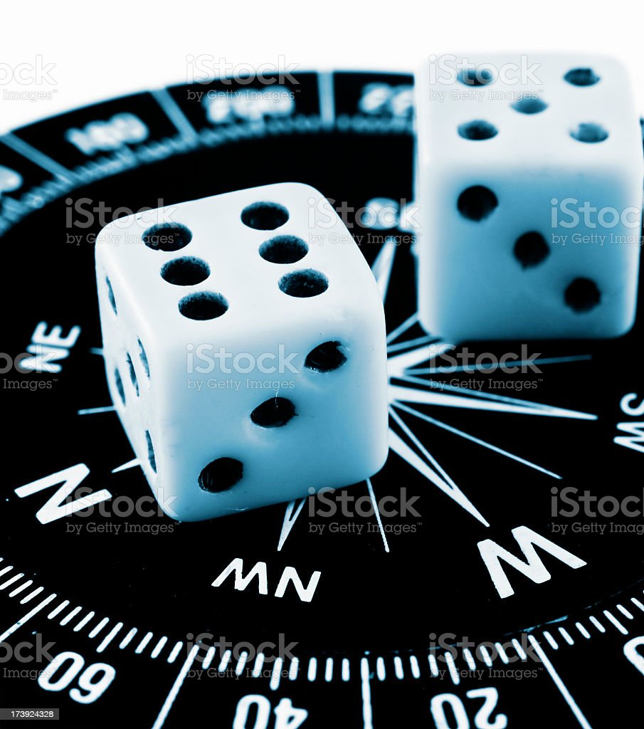 Dices showing the direction royalty-free stock photo